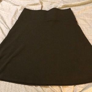 Dark moss green fitted flare skirt